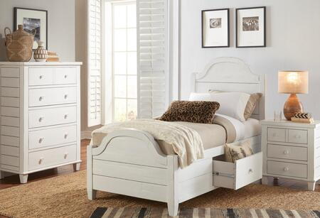 Chesapeake Collection 167380818286KTSET 3 PC Bedroom Set with Twin Size Storage Bed + Chest + Nightstand in Coastal White