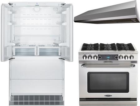3-Piece Kitchen Package with HCB2062 36 inch  French Door Refrigerator  COB366N 36 inch  Freestanding Gas Range  and MAES3610SS600B 36 inch  Under Cabinet Convertible Hood in