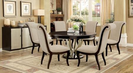 Ornette Collection CM3353RT6SCSV 8-Piece Dining Room Set with Round Table  6 Side Chairs and Server in Espresso and Champagne