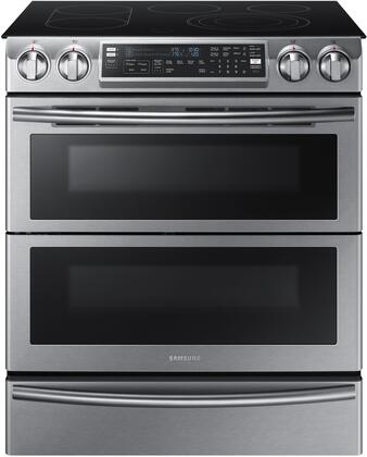 "NE58K9850WS 30"" Slide-In SmoothTop Electric Range with 5.8 cu. ft. Oven Capacity  Flex Duo convection fans  Dual oven door  Steam quick self-cleaning  Child"
