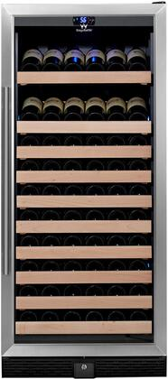 KBU-100W-SS 24 inch  1 Temperature Zone Wine Cooler with 98 Bottle Capacity  Warp Resistant Wood Shelves  Blue LED Lighting and Door Lock: Glass Door with Stainless