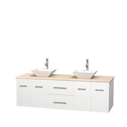 Wcvw00972dwhivd2wmxx 72 In. Double Bathroom Vanity In White  Ivory Marble Countertop  Pyra White Porcelain Sinks  And No