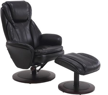 Comfort Chair Collection NORWAY-809-25A-200 18 inch  Norway Recliner and Ottoman with Black Alpine Wood Frame  360 Degree Swivel  Adjustable Recline  Lumbar Support