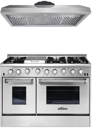 2-Piece Stainless Steel Kitchen Package with HRD4803U 48 inch  Dual Fuel Freestanding Range  and HRH4806U 48 inch  Under Cabinet Range