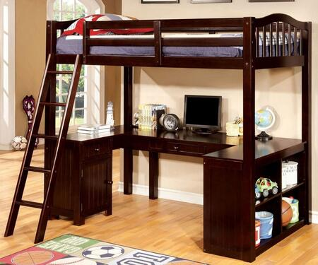 Dutton Collection CM-BK265EX-BED Twin Size Workstation Loft Bed with Built-In Desk  Multiple Storage  Angled Ladder  Solid Wood and Wood Veneers Construction