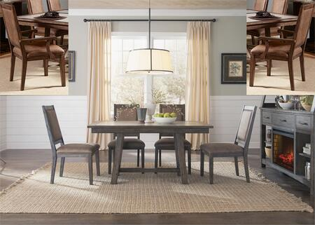 Stone Brook Collection 466-DR-O7TRS 7-Piece Dining Room Set with Trestle Dining Table  2 Arm Chairs and 4 Side Chairs in Rustic Saddle