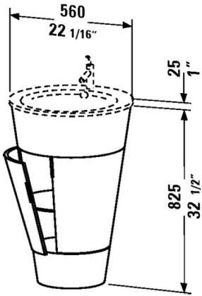 Starck S1952002424 22 inch  Sink Vanity with Conical Shape  1 Glass Shelf and 1 Door in