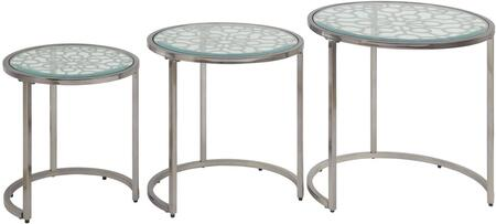 Velia Collection 83050 3 PC Nesting Table Set with 8mm Clear Tempered Glass Top  Geometric Pattern  Round Shape  Glam Style and Metal Construction in Antique