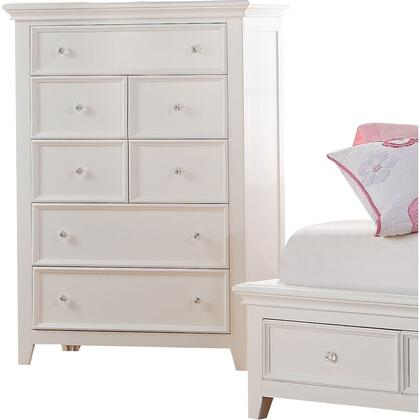 Lacey Collection 30602 36 inch  Chest with 5 Drawers  Raised Recessed Panels  Nickel Metal Knobs  Tapered Legs and Pine Wood Construction in White