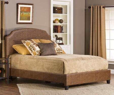 Durango 1055BQR Queen Sized Bed with Headboard  Footboard and Rails and Faux Leather Upholstery in Weathered Brown