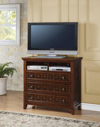 Carmela Collection 24787 44 inch  TV Console with 3 Drawers  2 Open Compartments  Wire Management Holes and Pine Wood Construction in Walnut