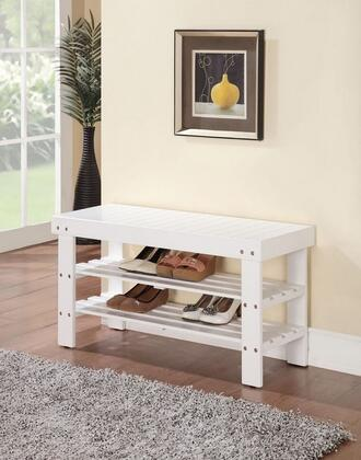 Ramzi Collection 98162 35 inch  Bench with 2 Shelves Shoe Rack  Wooden Seat  Pine and Plywood Construction in White