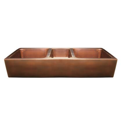 WH5319COFCTOCS Copperhaus large rectangular triple bowl undermount sink with a smooth front