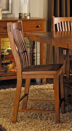 LAUOA375K Laurelhurst Slatback Barstool Oak Ergonomically Designed for Comfort with 23% to 28% NC Top Coat in Mission