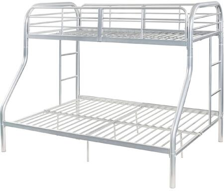 Tritan Collection 02043SI Twin Over Full Size Bed with Built-in Side Ladders  Full Length Guardrail  Slat System Included and Metal Construction in Silver
