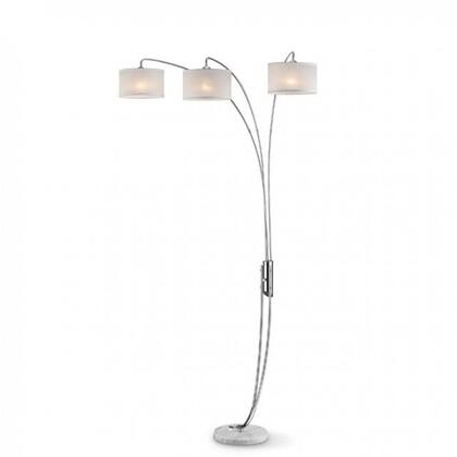 Leanne L99744 Arch Lamp with Marble base  Polished chrome finish  Off white shade  Shade size: 10