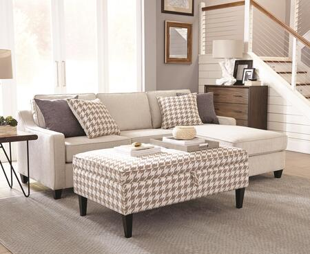 Montgomery Collection 501170SET 2 PC Sectional Set with Sectional Sofa + Storage Ottoman in Cream and Beige