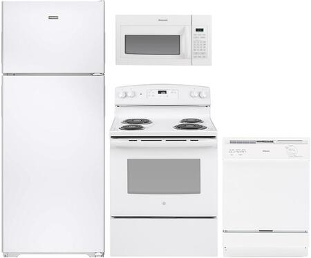 4-Piece White Kitchen Package with HPS18BTHWW 36 inch  Top Freezer Refrigerator  RB526DHWW 30 inch  Freestanding Electric Range  RVM5160DHWW 30 inch  Over the Range Microwave