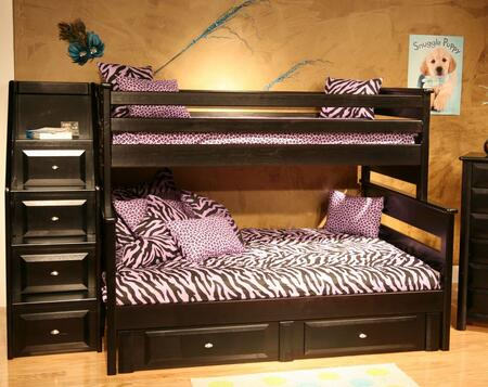 3534522-4526 Twin Over Full Bunk Bed with Stairway Chest Black