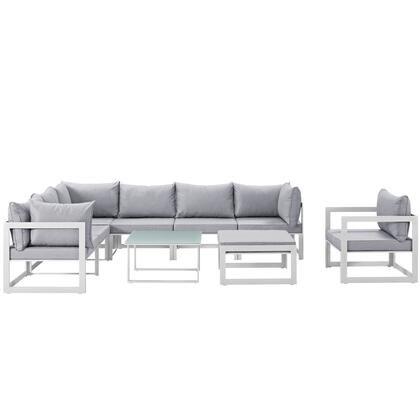 Fortuna Collection EEI-1734-WHI-GRY-SET 9-Piece Outdoor Patio Sectional Sofa Set with Ottoman  Side Table  Single Sofa  3 Center Sections and 3 Corner Sections