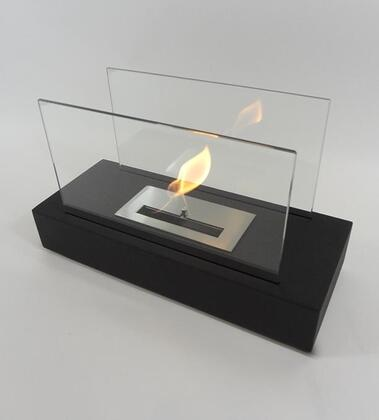 Incendio NF-T1INO 13.75 inch  Vent Free Bioethanol Tabletop Fireplace with 2 Tempered Glass Panels  Stainless Steel Linear Burner and Dampener Tool in