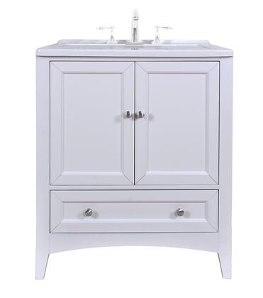 Manhattan GM-Y01W 30 inch  Laundry Utility Sink Vanity with Basin Cover  Soft Closing Brushed Nickel Hardware  One Drawer and Two Doors in