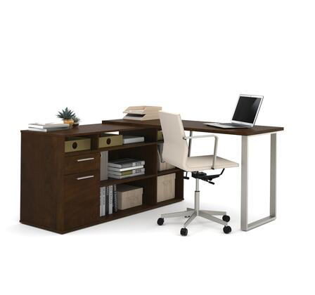 29851-69 Solay L-Shaped Desk with lateral file and bookcase in