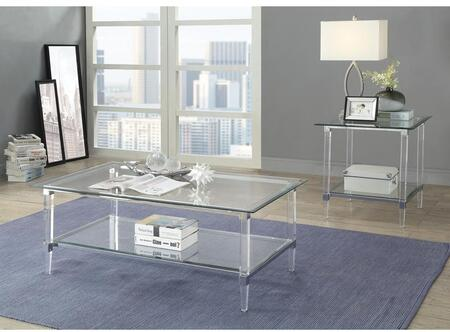 Polyanthus Collection 80940CE 2 PC Living Room Table Set with Rectangular Shaped Coffee Table and Square Shaped End Table in Chrome