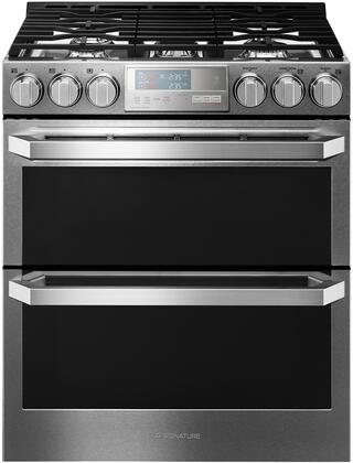 LUTG4519SN 30 inch  Slide-In Double Oven Gas Range with 6.9 cu. ft. Total Oven Capacity  5 Burners  ProBake Convection  Meat Probe  and Wi-Fi Capable  in Textured