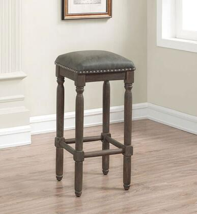 Bronson B2-261-30L Backless Bar Stool with in Driftwood Grey Wirebrushed Finish with Dark Grey Bonded Leather