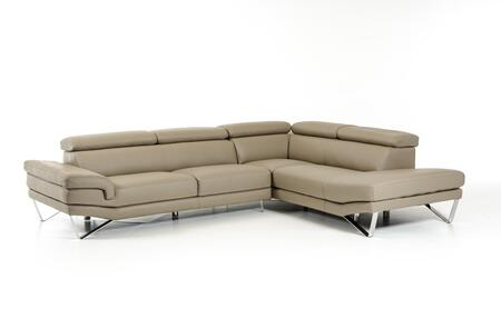 David Ferrari Aria Collection VGFTARIA-GRY 119 inch  2-Piece Italian Leather Sectional Sofa with Left Arm Facing Sofa and Right Arm Facing Chaise in