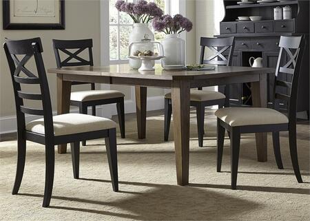 Hearthstone Collection 482-DR-O5RLS 5-Piece Dining Room Set with Rectangular Dining Table and 4 X Back Side Chairs in Rustic Oak and Black