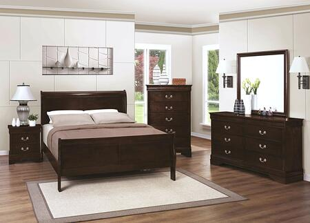 Louis Philippe 202411FDMNC 5-Piece Bedroom Set with Full Sleigh Bed  Dresser  Mirror  Nightstand and Chest in Cappuccino