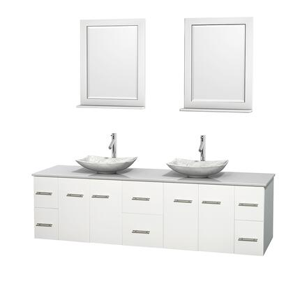 WCVW00980DWHWSGS6M24 80 in. Double Bathroom Vanity in White  White Man-Made Stone Countertop  Arista White Carrera Marble Sinks  and 24 in.