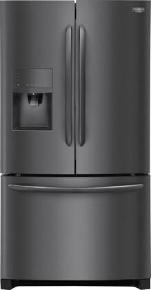 """4-Piece Black Stainless Steel Kitchen Package with FGHB2867TD 36"""""""" French Door Refrigerator  FGGF3059TD 30"""""""" Gas Freestanding Range  FGMV155CTD 30"""""""""""" 811686"""