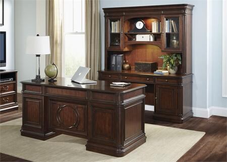 Brayton Manor Collection 273-HOJ-5JES 2-Piece Executive Office Set with Executive Desk and Executive Credenza in Cognac