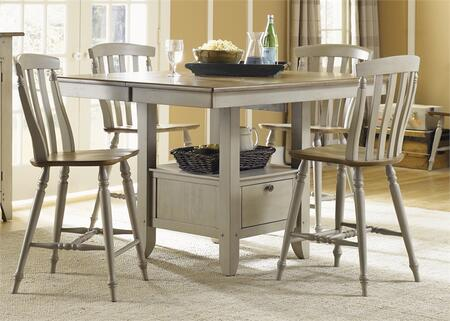 Al Fresco Collection 541-CD-5GTS 5-Piece Dining Room Set with Gathering Table and 4 Slat Back Counter Chairs in Driftwood & Taupe