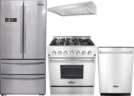 4-Piece Stainless Steel Kitchen Package with HRF3601F 36 inch  French Door Refrigerator  HRG3618U 36 inch  Freestanding Gas Range  HRH3606U 36 inch  Under Cabinet Hood  and