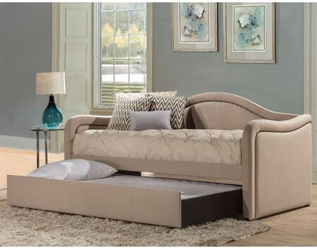 Melbourne Collection 2092DBTG Twin Size Daybed with Trundle Included  Fabric Upholstery  Decorative Nail Head Trim and Sturdy Wood Construction in Linen