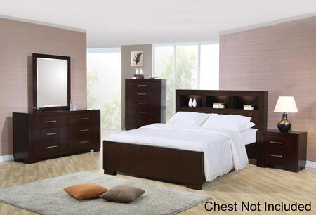 200719kwset4 Jessica 4 Pc California King Bedroom Set With Bed  Nightstand  Dresser And Mirror In Light Cappuccino