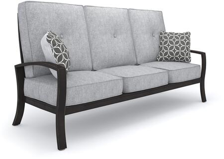 Castle Island Collection P414-838 82 inch  Outdoor Sofa with Removable Cushion  Pillows Included  Nuvella Fabric and Rust-Proof Aluminum Construction in Dark Brown
