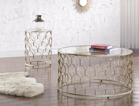 Finn Collection 225CE 2 PC Living Room Table Set with Coffee Table + End Table in Gold
