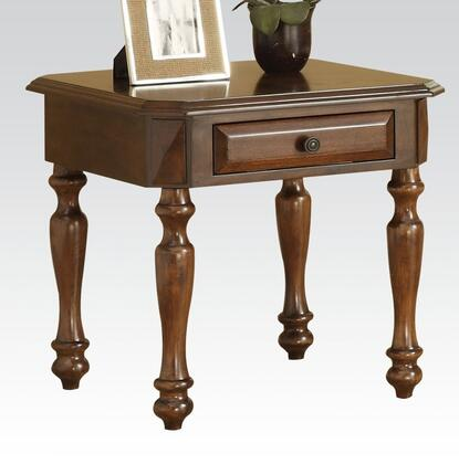 Nakeya 80776 24 inch  Square End Table with 1 Drawer  Turned Legs and Decorative Metal Hardware in Cherry