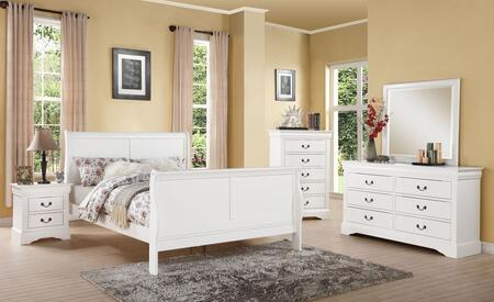 Louis Philippe Iii 24510f5pc Bedroom Set With Full Size Bed + Dresser + Mirror + Chest + Nightstand In White