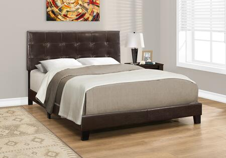 I 5922Q Queen Bed with Faux Leather Upholstery  Button Tufted Headboard and Solid Wood Block Feet in Dark