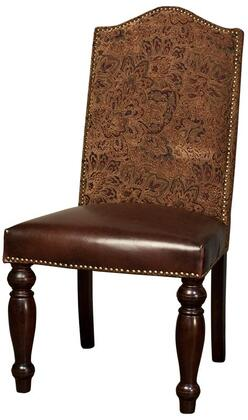 Sofia ZWSF73PTB 44 inch  Dining Room Chair with Nail Head Trim  Tapered Legs  Upholstered Brown Leather Seat and Tapestry Back Upholstery in Plum