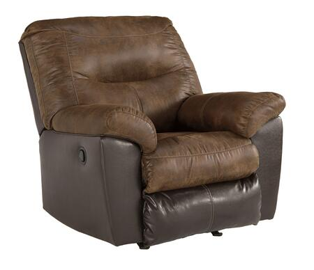 Leonberg Collection 3790325 39 inch  Rocker Recliner with Pillow Top Arms  Faux Leather Upholstery and Stitching Details in