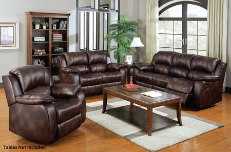 Zanthe 50510SLR 3 PC Living Room Set with Sofa + Loveseat + Recliner in Brown