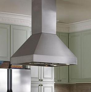 EPIH18-236 SS Island Range Hoods with 550 CFM Inline Blower & 2-Level Halogen Lighting: 36