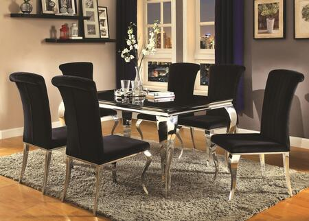 Carone Collection 705071set 7 Pc Dining Room Set With Dining Room Table + 6 Side Chairs In Black
